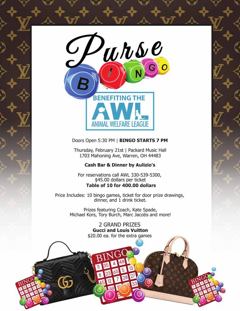 Purse Bingo Animal Welfare League Of Trumbull County Inc