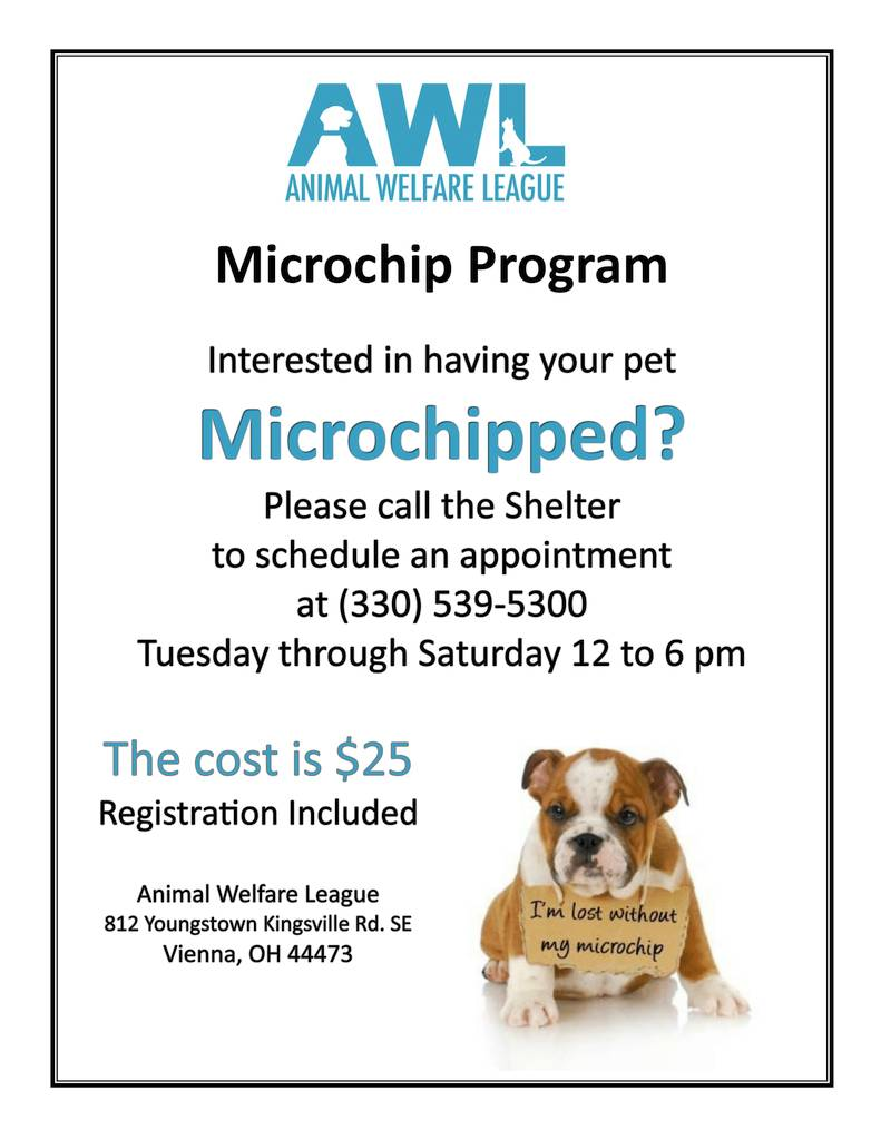 Microchipping Dog Licenses Animal Welfare League Of Trumbull County Inc
