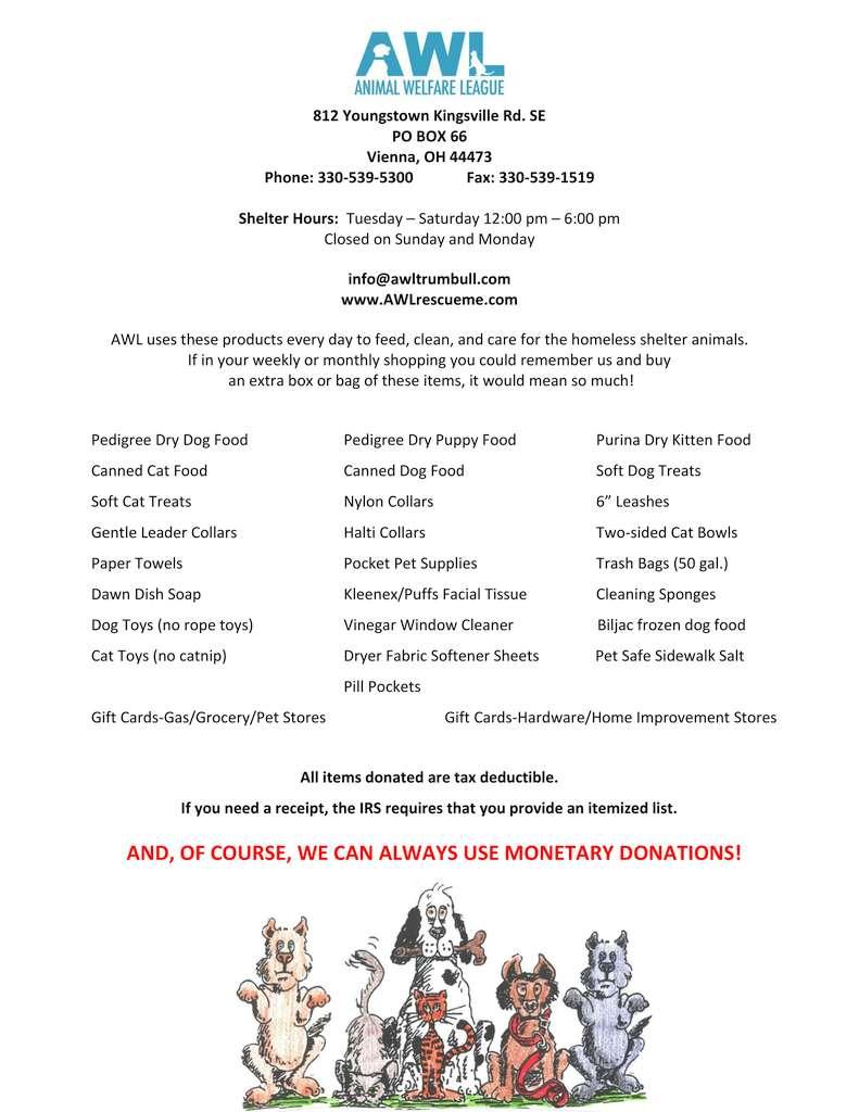 Animal Welfare League Of Trumbull County Inc Rescue Rehabilitate Adopt Educate